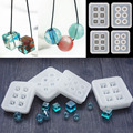 Transparent Rectangle Silicone Bead Mould Square Ball 6 Hanging Holes Resin Jewelry Making DIY Craft