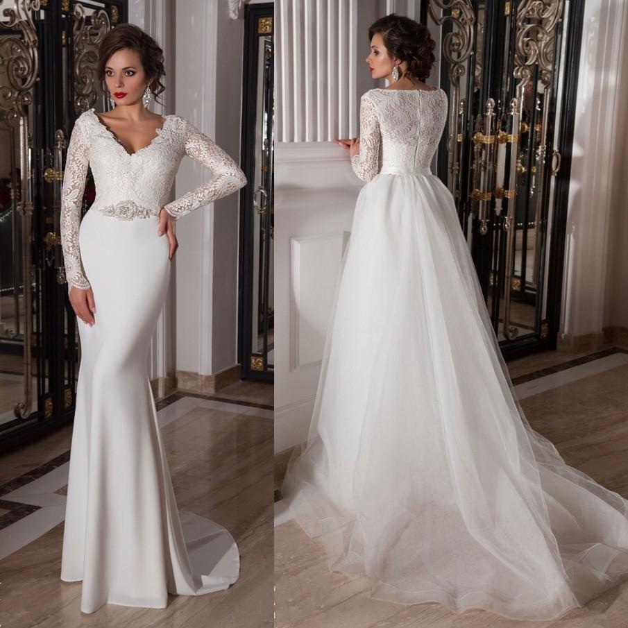 Daw3233 free shipping v neck wedding dress long sleeve for Wedding dress free shipping
