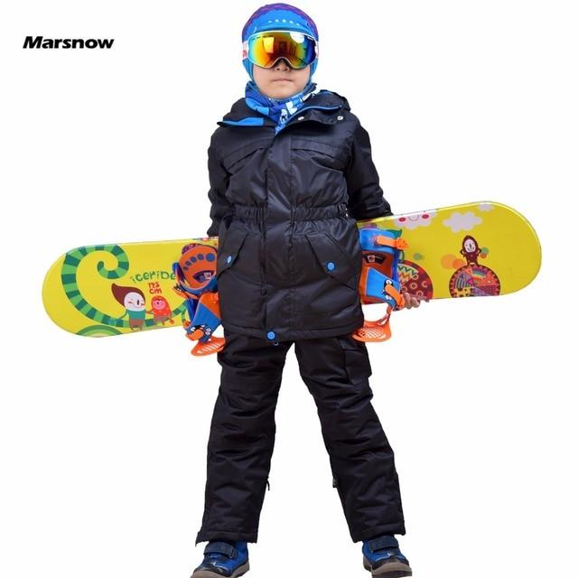 Marsnow Waterproof Children's Boys Girls Snow Ski Suits Set Outdoor Wear Hooded Jackets+Pants Kids Winter Warm Sport Coat Sets