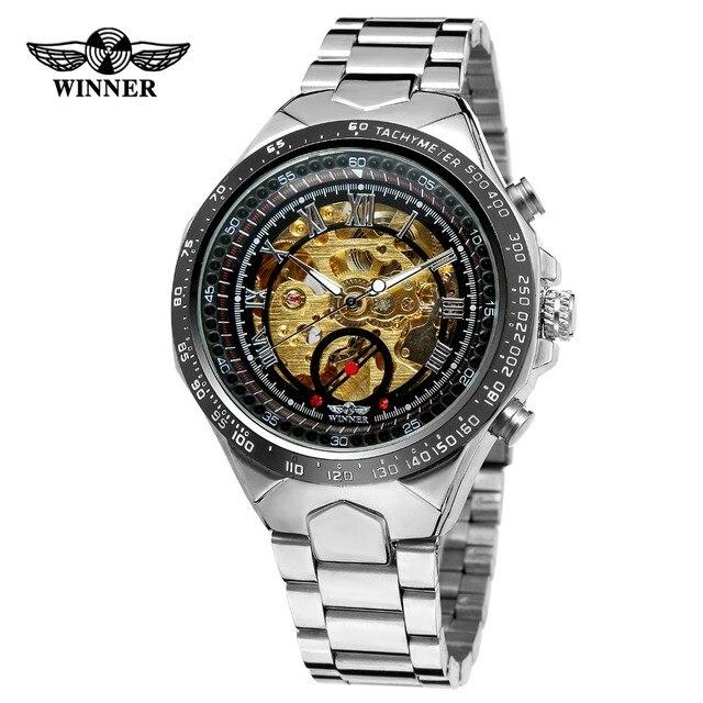 a94f5f982c8 Homens VENCEDOR Relógios de Ouro Esqueleto Mecânico Automático Relógio  Masculino Banda de Aço Inoxidável Relógio de