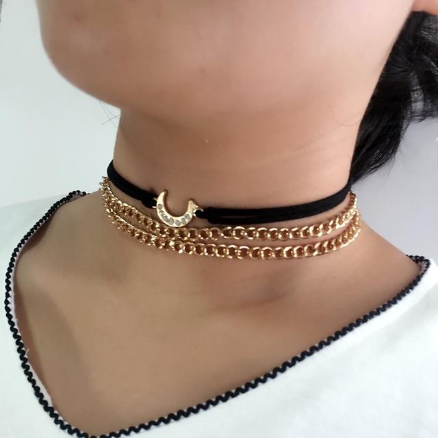 Sailor Moon Danze 3 Pcs/Lot Gothic Handmade Gold Color Double Chain Velvet Choker Pandent Necklace