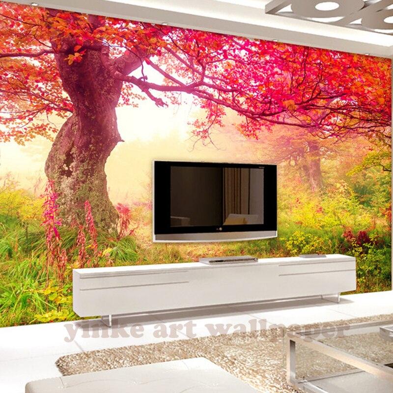 3d wallpaper autumnal scenery red tree leaf sugarbush wall ...