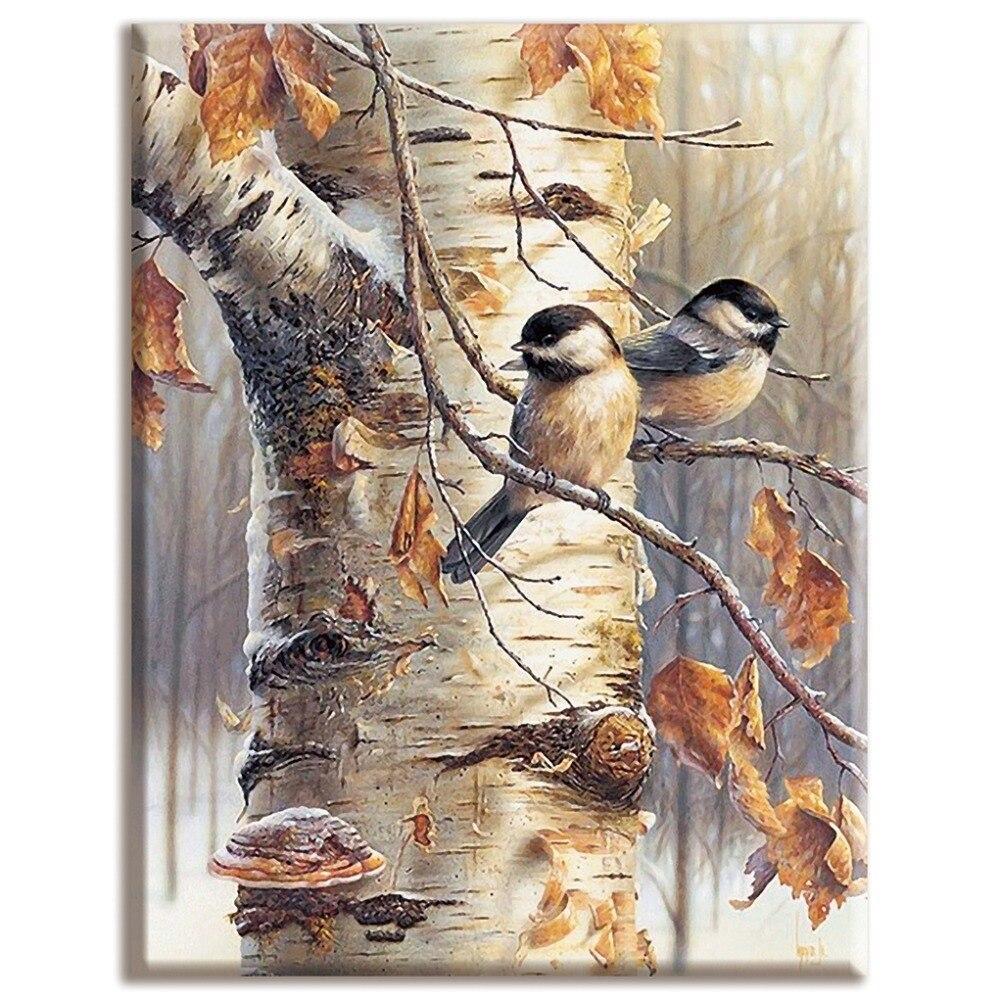 Рукоделие, наборы для полного вышивания, домашний декор, 40x50 см , дерево и птица, животные и растения, белая холст , Dmc, сделай сам, вышивка крестом| - AliExpress