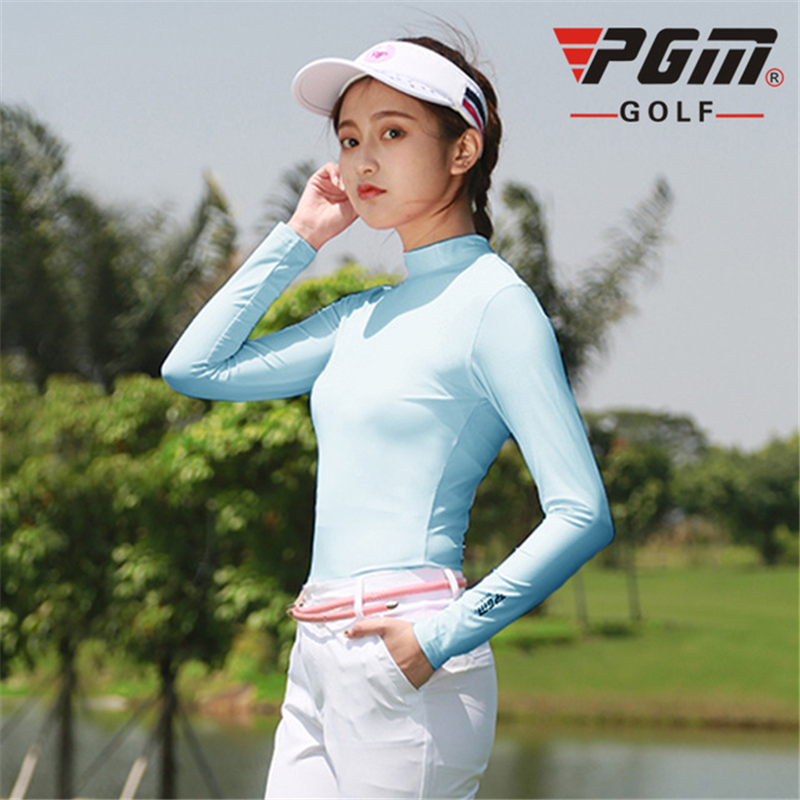 2019 Women Sun Protection Shirt Summer Ice Silk Underwear Ladies Long Sleeved Anti-uv T-Shirts Breathable Golf Apparel D0351