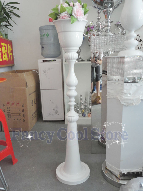 110cm Tall Wedding Metal White Flower Vase Stand Road Leads 10pcs Lot