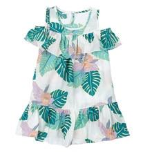 Summer Girl Green Leaf Cold Shoulder Flounce Dress