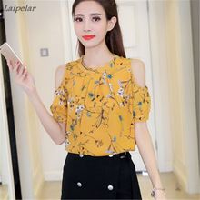 2018 Summer Women Chiffon Blouse Shirt Casual Shirt Shoulder Off Female Blouses elegant Short Sleeve Floral Print Tops blusas