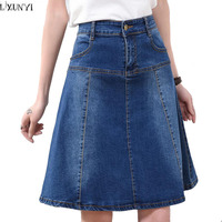 LXUNYI 7XL 8XL Women Denim Skirts 2019 With Pockets Summer Denim Skirt Plus Size A Line Thin High Waisted jean skirts for ladies