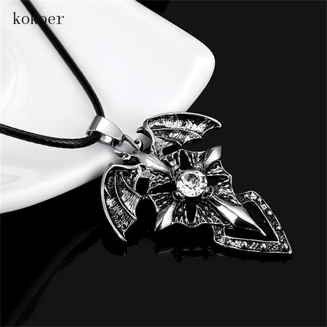 Hot sell stainless steel devil wings cross cyrstal trendy vintage hot sell stainless steel devil wings cross cyrstal trendy vintage necklace for man large vampire gothic aloadofball Images