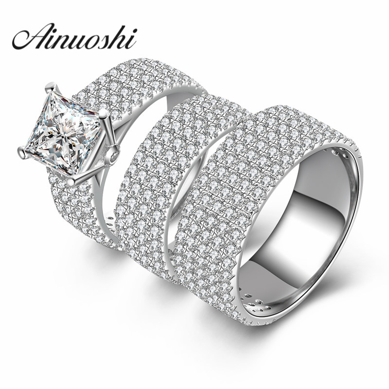 AINUOSHI 3pc Women Men Wedding Ring Sets Luxury Lovers Romantic Gift 925 Sterling Silver Promise Jewelry