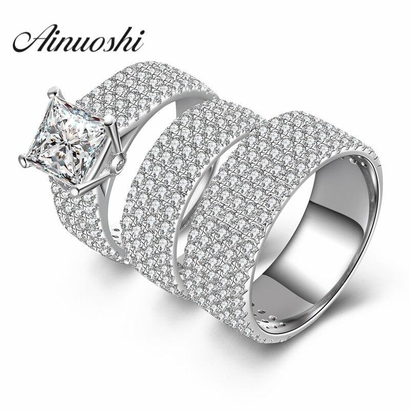 AINUOSHI 3 pc femmes hommes bague de mariage ensembles de luxe amoureux romantique cadeau 925 en argent Sterling promesse bijoux doigt Couple anneaux