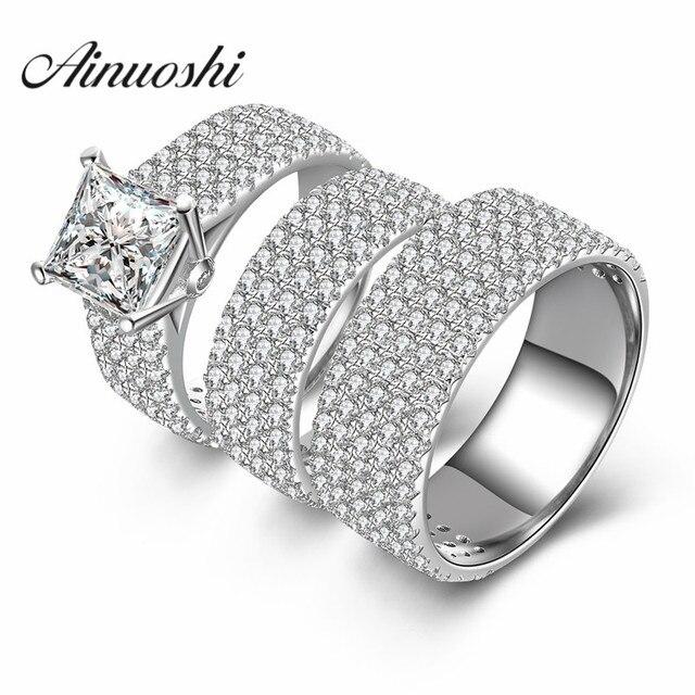 AINUOSHI 3pc Women Men Wedding Ring Sets Luxury Lovers Romantic Gift
