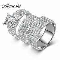 AINUOSHI 3pc Women Men Wedding Ring Sets Luxury Lovers Romantic Gift 925 Sterling Silver Promise Jewelry Finger Couple Rings