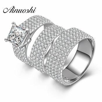 52011e2772d6 Ainuoshi 3 Unid las mujeres hombres anillo de bodas Sets lujo amantes regalo  romántico 925 plata esterlina joyería promesa par dedo Anillos