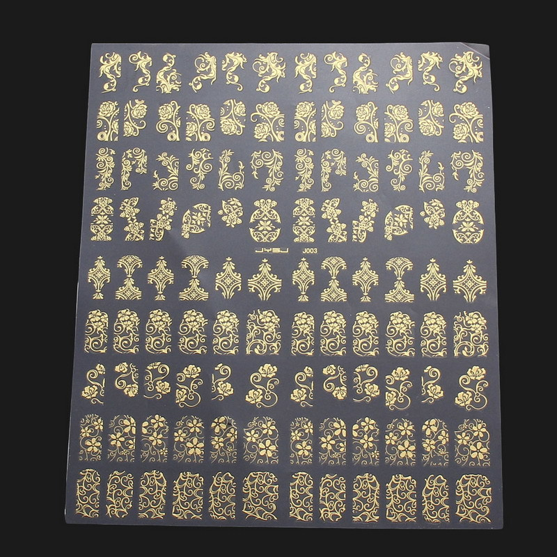 108PCS 3D DIY Flower Design Nail Art Stickers Flower Manicure Tips Decals Stickers 24pcs lot 3d nail stickers decal beauty summer styles design nail art charms manicure bronzing vintage decals decorations tools
