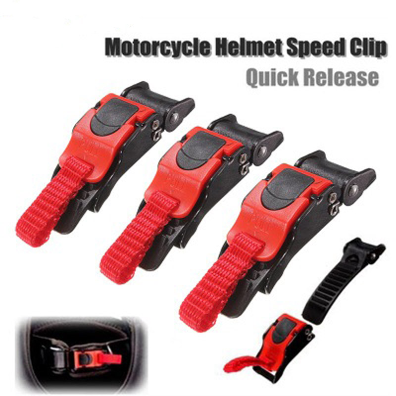 3X Plastic Motorcycle Helmet Speed Clip Chin Strap Quick Release Pull Buckle Red