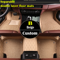 Separable double layer custom car floor mats forPeugeot 206 207 2008 301 307 308sw 408 4008 508 rcz carpet floor liner