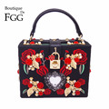 Women Black PU Embroidery Red Rose Flower Beaded Fashion Shoulder Handbags Messenger Bags Hard Case Evening Box Clutch Purse