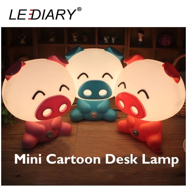 LEDIARY Pig Desk Lamp E14 Replaceable Light Source Night Light Red/Pink/Sapphire Baby 110-240V Bedside Lamp