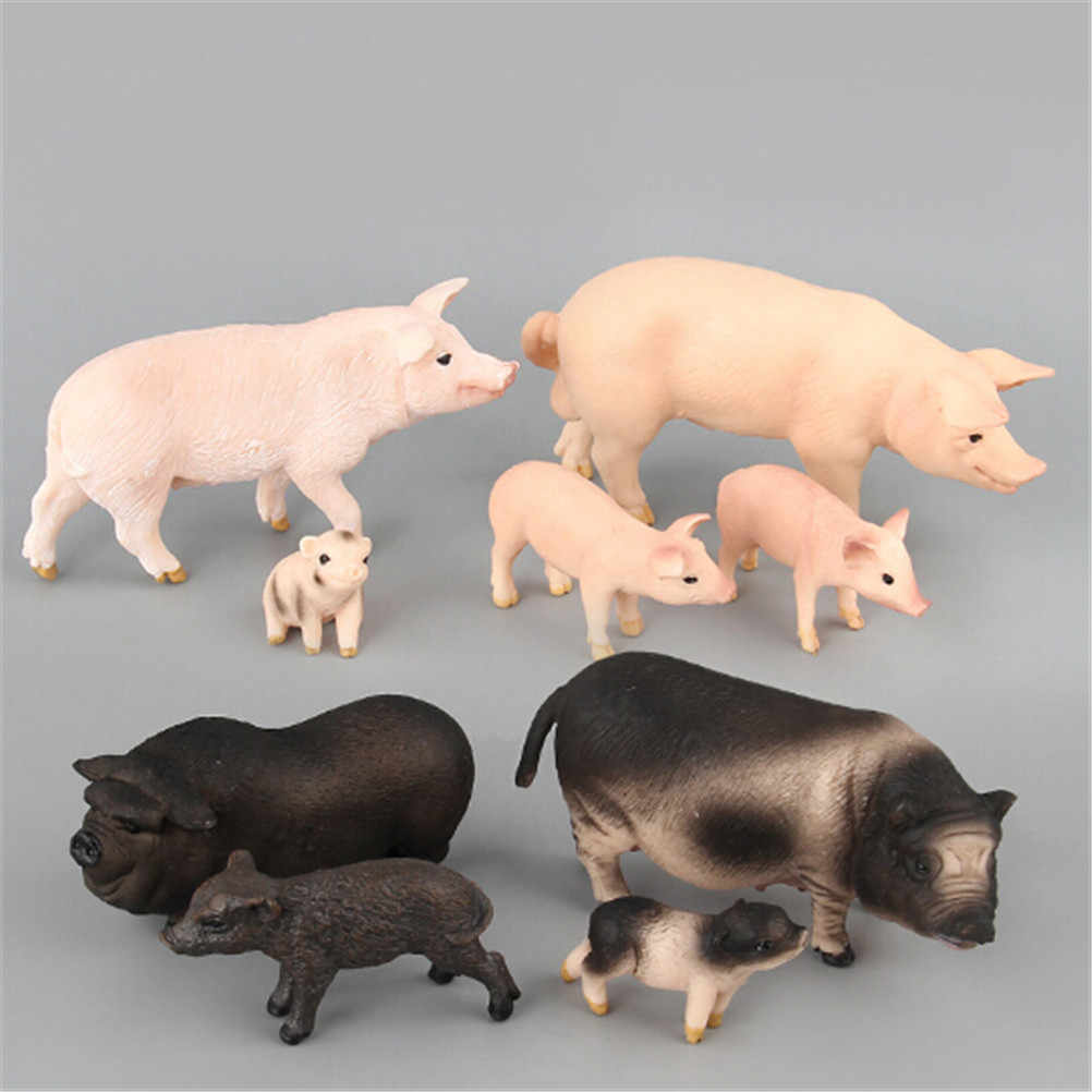 Figurine Pig Original Farm Animal Domestic Pig Family Set Figure Educational Figure Toy Gift For Children Kids