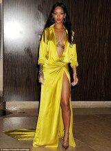 Rihanna grammy Gelb Mode Sexy Tiefem v-ausschnitt Abendkleider Sweep zug Slit side maß Roter teppich-berühmtheit Kleid 2015