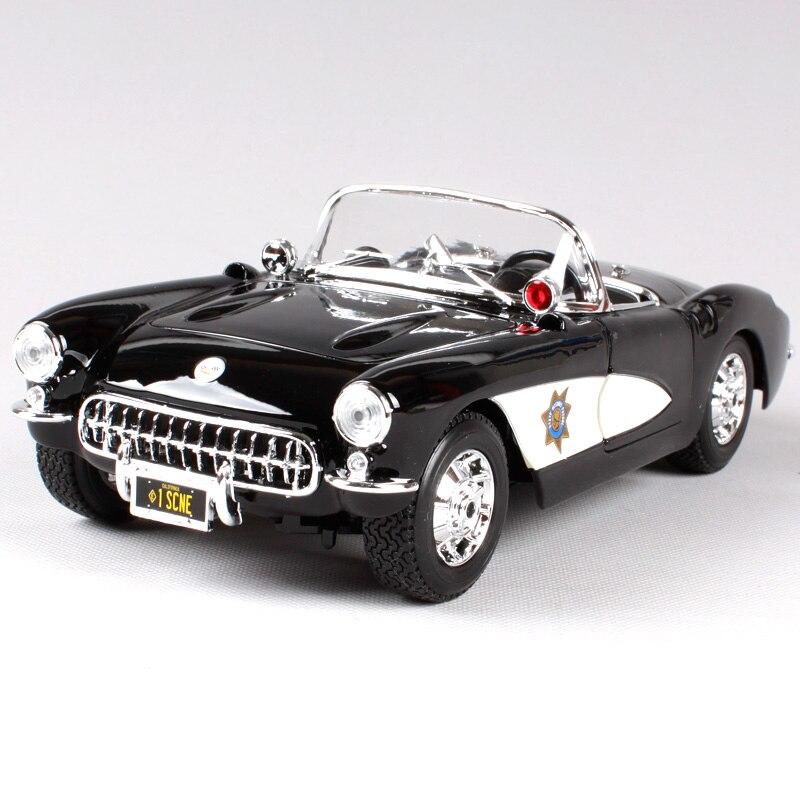 Maisto 1 18 1957 chevrolet corvette car diecast for police luxury vintage car model open top