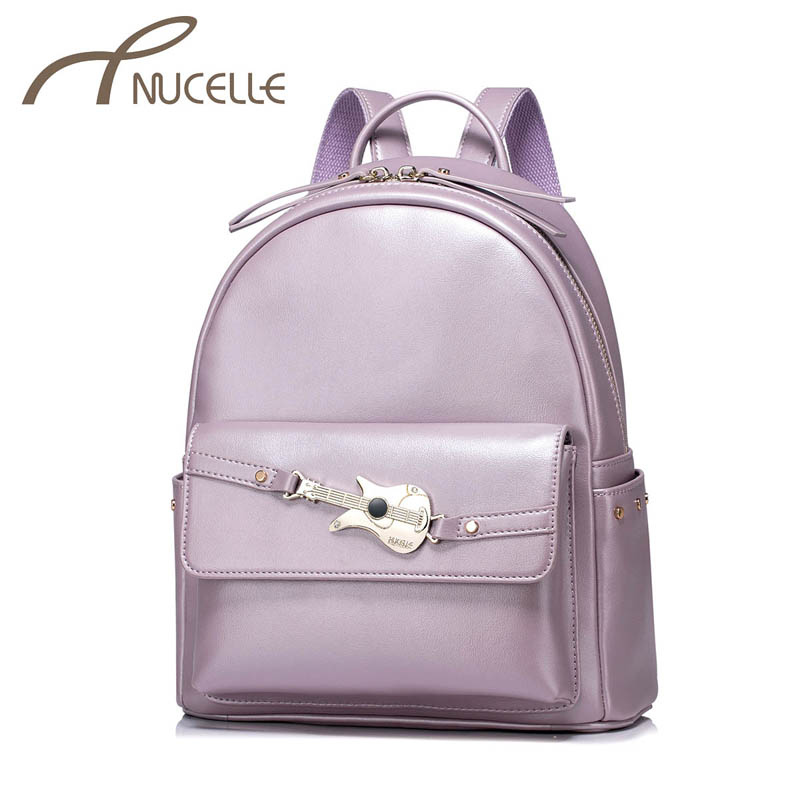 NUCELLE Women PU Leather Backpack Fashion Guitar Female Elegant Daily Box Shoulder Bags Ladies Rivets Travel Rucksack NZ4956 12mm waterproof soprano concert ukulele bag case backpack 23 24 26 inch ukelele beige mini guitar accessories gig pu leather