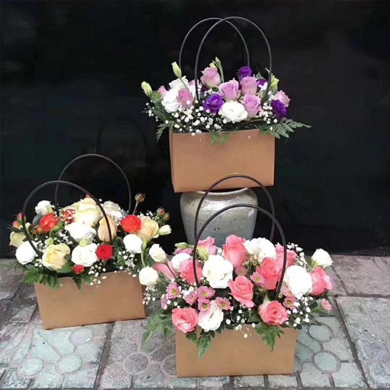 Kraft Paper Bag Flower Box Handbag Waterproof Bouquet Florist Gift Bags Valentine's Day Rose Boxes Party Decoration 22*11*10cm
