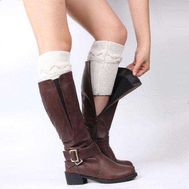 Caliente señoras invierno Calentadores de pierna de punto de Color ...