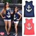 A Juego de Ropa de verano de la Familia Madre E Hijo Madre E Hija de Ropa Trajes Sin Mangas Impreso Anchor Navy Beach T-shirt