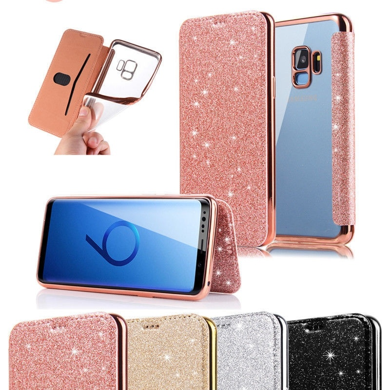 For <font><b>Samsung</b></font> Galaxy S10 <font><b>S10e</b></font> Case Bling Glitter Flip Leather Clear Case For S8 S9 S10 Plus Note 8 9 Wallet Card Slot Holder <font><b>Capa</b></font> image