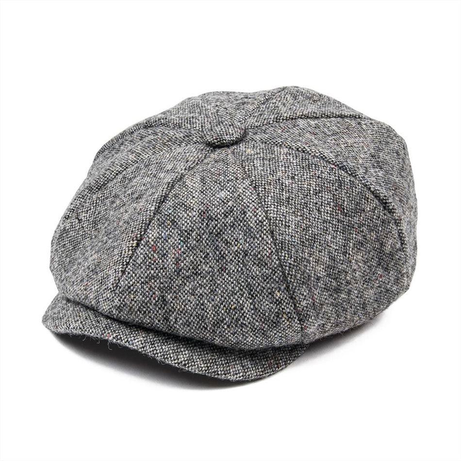 JANGOUL de lana Tweed cachucha hombres Baker Boy de otoño invierno de  espiga Boina gris Gatsby tapas taxista conductor sombrero de papá 004 ... f4e24770763