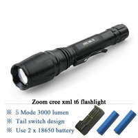 Long Handle High Power Zoomable 3000 Lumen Cree Xm L T6 Led Flashlight Torch Use Rechargeable