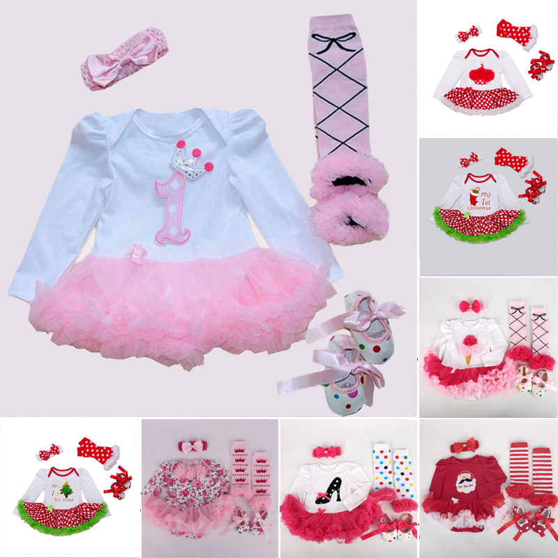 Newborn Baby Girl Clothes Brand Baby 4Pcs Clothing sets Tutu Romper Roupas De Bebes Menina Infant 0-2T Baby Christmas Outfits 2016 baby girls summer clothing sets baby girl romper suits romper tutu skirt headband infant newborn baby clothes baby romper