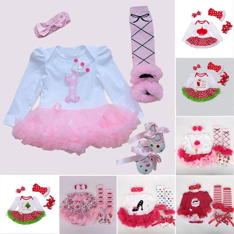 Newborn Baby Girl Clothes Brand Baby 4Pcs Clothing sets Tutu Romper Roupas De Bebes Menina Infant 0-2T Baby Christmas Outfits