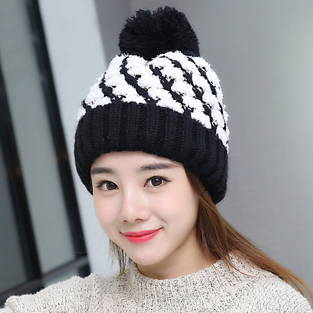 fe2d20b2cc1ee 2018 Novel Women Thick Beanies Skullies Caps Female Pompom Knitted Winter  Hats Beautiful Snow Like Small Yarn in Plaid Patern