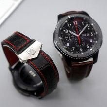 Samsung gear s3 classique frontière 22mm véritable en cuir de courroie de bande avec des outils libres meilleure qualité
