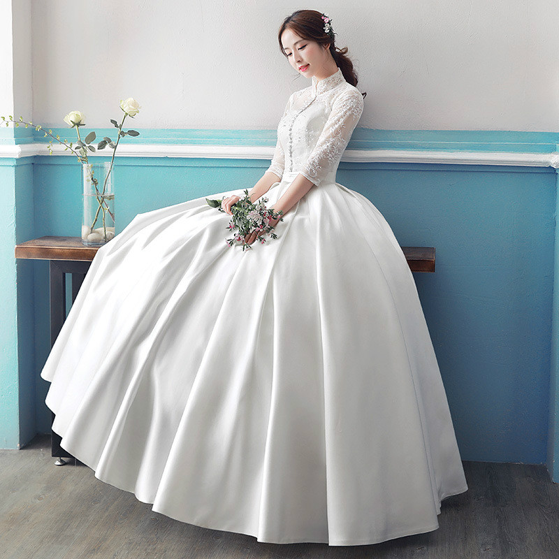 Buy real photo cheap long sleeve wedding for Long sleeve plus size wedding dress
