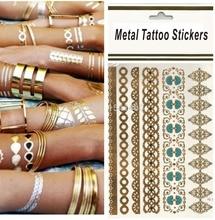 Pro Waterproof Petals Beautiful Case Body Art Flash Metallic Temporary Tattoos Gold Tattoo Metalic Tattoo Hot