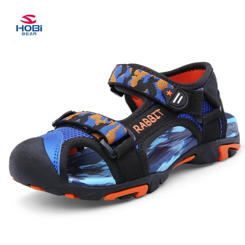 2018 Brand Summer Beach Sandals Kids Sandals boys Leather Summer Shoes kids Casual Sport Sandals For Little Boys Size 25#-37#