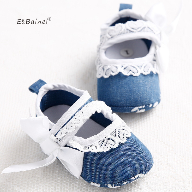 Fashion Lace Flower Baby Shoes Jean Bowknot Toddler Infants Baby Girl Shoes First Walkers
