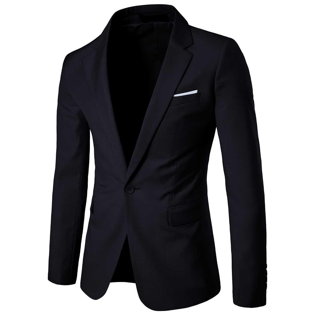 2019 hombres Corea Slim moda Blazers traje Chaqueta Hombre Casual talla grande vestido de boda negro mar azul vino rojo abrigo de traje de los hombres
