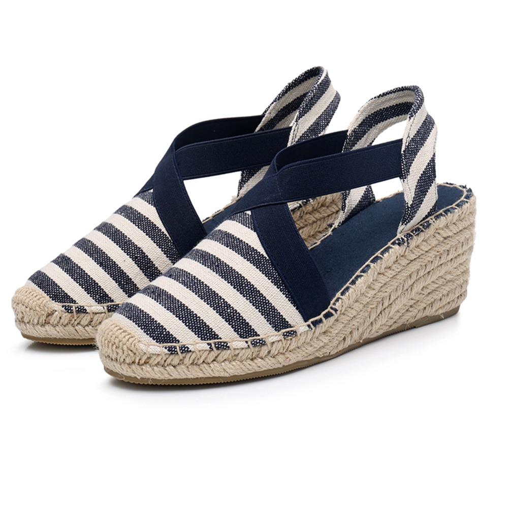 Wedge Espadrilles Pumps Ladies Sandals Shoes Blue Wedge Women Pumps Wedge Sandals Casual Shoes For Canvas Strap Hemp Shoes-in Women's Pumps from Shoes    1