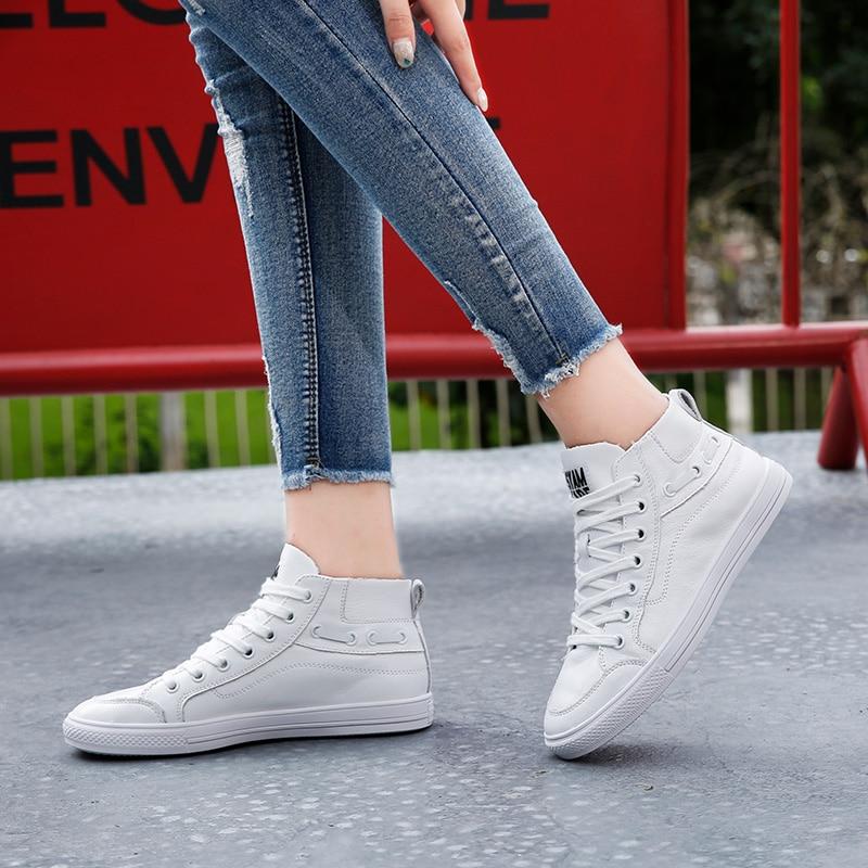 Style Le Cuir Haut Blanc Confortable Chaussures dessus Black Décontracté Nouveau Ministère Avec Et 5 white Femmes De Étudiants Version Coréenne Les En QrCxedBoW