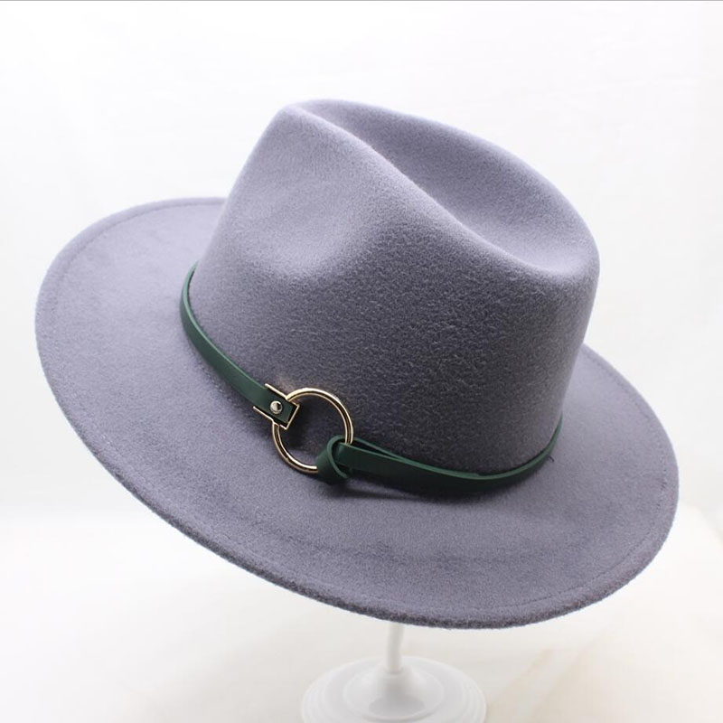 dfc4c09f782 ... SUOGRY Winter Fedora Hat with women s Wide-Brimmed Metal Strap Felt Men  Fedora Hat Panama ...