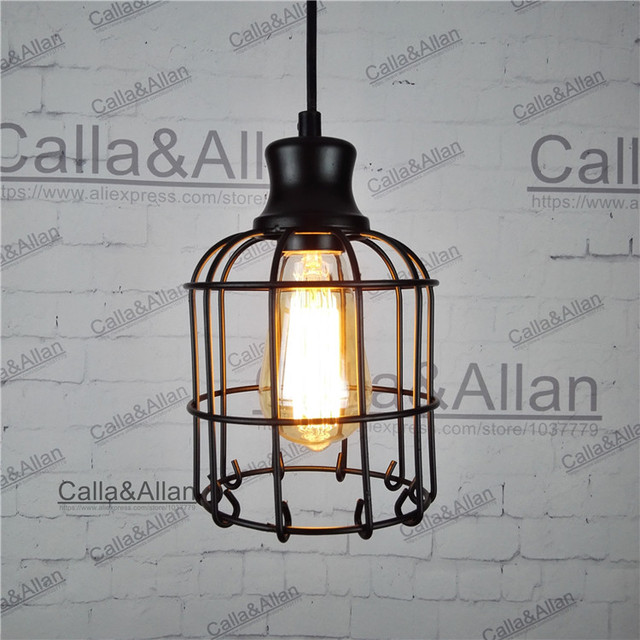 Industrial loft style multicolor edison modern metal wire frame industrial loft style multicolor edison modern metal wire frame ceiling pendant hanging light lamp lampshade cage greentooth Images