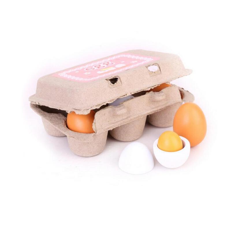unidsset madera huevos simulacin educativo interesante kid toy cocina juego de alimento coccin