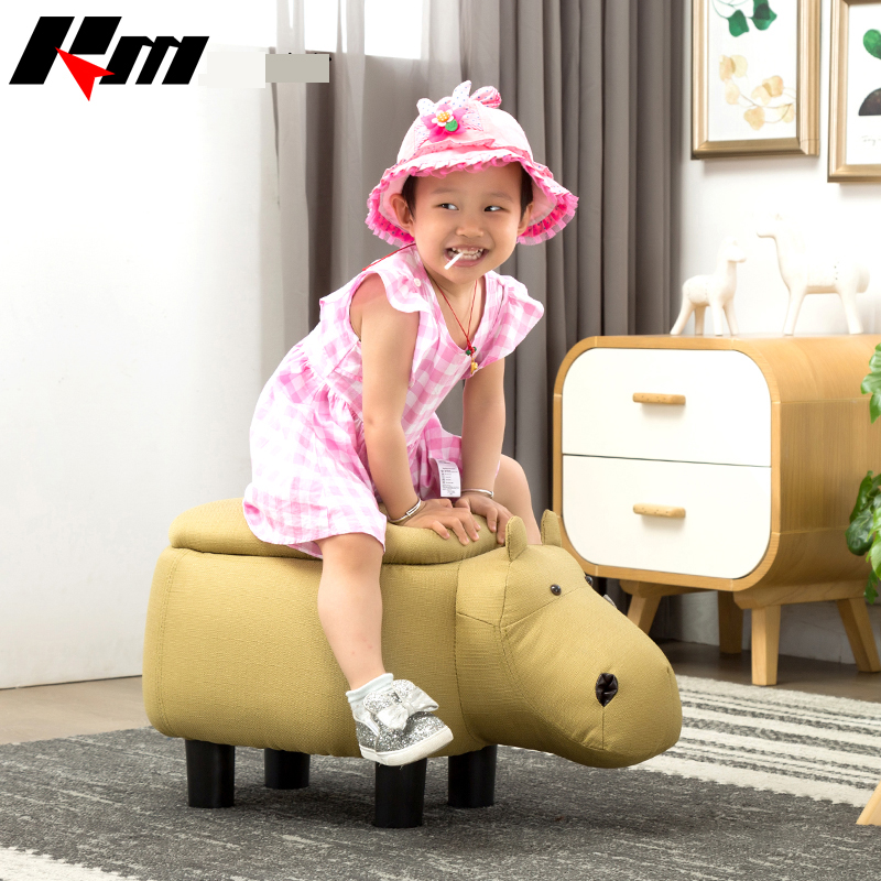 Comfortable Durable Footstool Cute Animal Hippo Cloth Storage Shoe Bench Sofa with PV Sturdy Legs Bearing 80kg Gifts For Kids