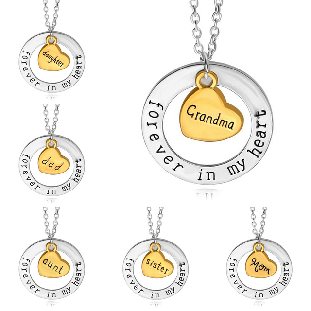 Family gold heart dad mom grandma aunt sister daughter forever in my family gold heart dad mom grandma aunt sister daughter forever in my heart pendant necklace for aloadofball Choice Image