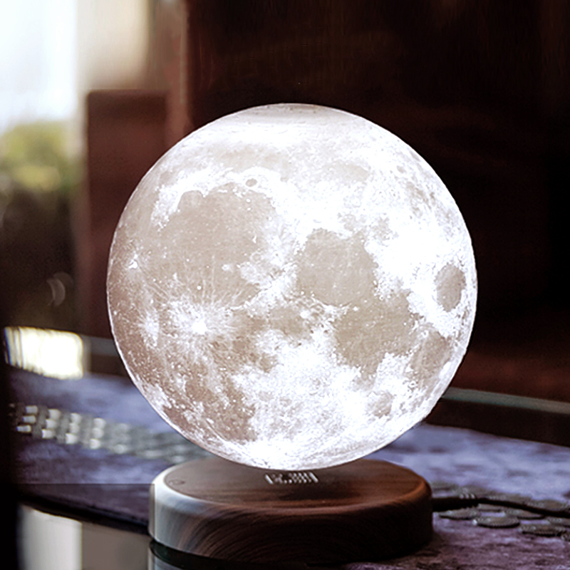 15cm 3D Magnetic Levitating Floating Moon Light Rotating Lunar Table Lamp Romantic Night Light wedding decoration Drop Shipping magnetic floating levitation 3d print moon lamp led night light 2 color auto change moon light home decor creative birthday gift